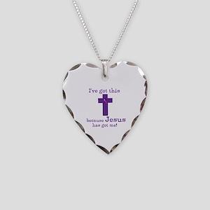 Purple Jesus Has Got Me Necklace Heart Charm