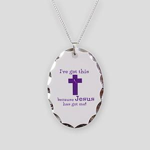 Purple Jesus Has Got Me Necklace Oval Charm