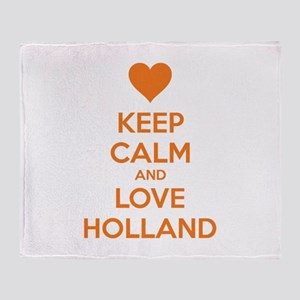 Keep calm and love Holland Throw Blanket
