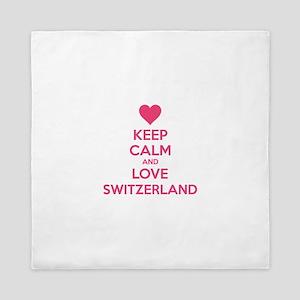 Keep calm and love Switzerland Queen Duvet