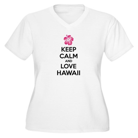Keep calm and love Hawaii Women's Plus Size V-Neck