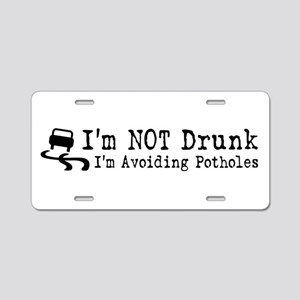 Drunk Potholes Aluminum License Plate