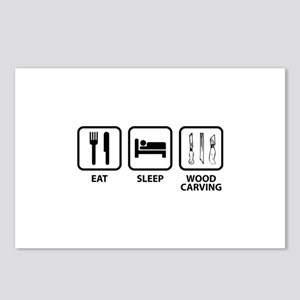 Eat Sleep Wood Carving Postcards (Package of 8)