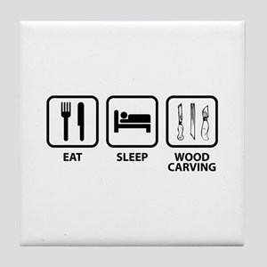 Eat Sleep Wood Carving Tile Coaster