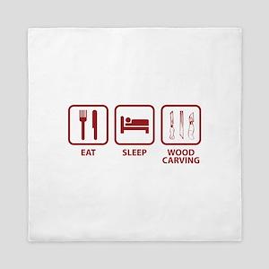 Eat Sleep Wood Carving Queen Duvet