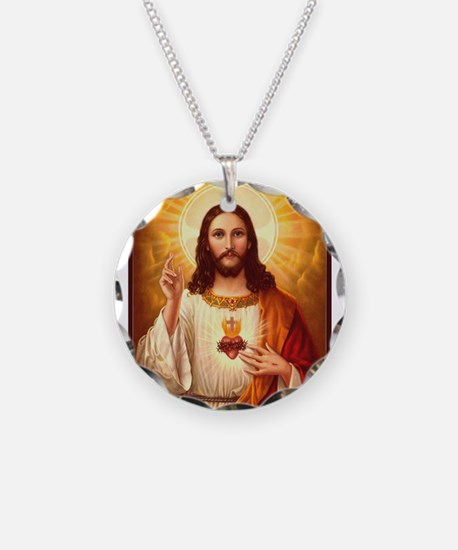 Sacred Heart of Jesus Necklace Circle Charm