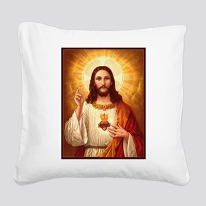 Sacred Heart of Jesus Square Canvas Pillow