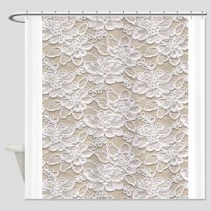 Vintage Floral Lace Shower Curtain