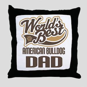American Bulldog Dad Throw Pillow