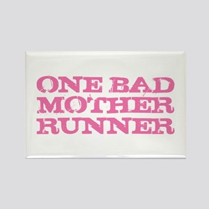 One Bad Mother Runner Pink Rectangle Magnet