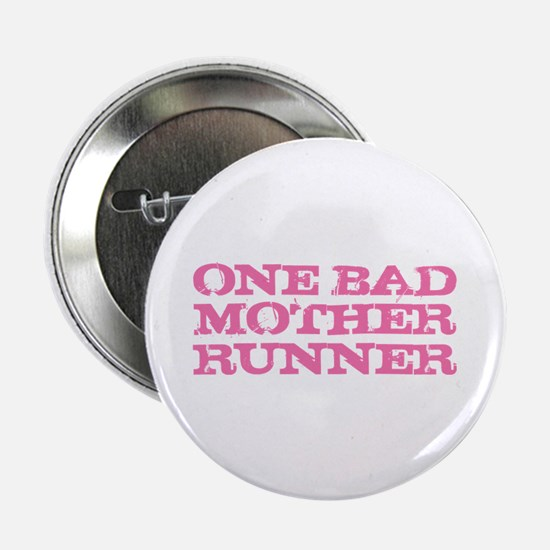 """One Bad Mother Runner Pink 2.25"""" Button"""
