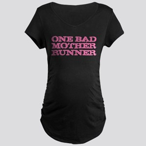 One Bad Mother Runner Pink Maternity Dark T-Shirt