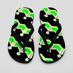 Green Black Zig Zag Designer Flip Flops
