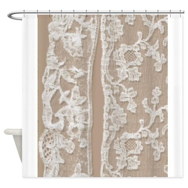 vintage white lace shower curtain by printedlittletreasures. Black Bedroom Furniture Sets. Home Design Ideas