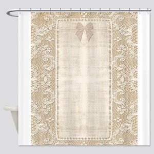 Vintage Lace Stationary Bow Shower Curtain
