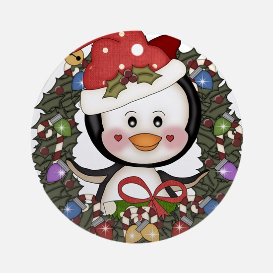 Christmas Penguin Holiday Wreath Ornament (Round)