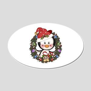 Christmas Penguin Holiday Wreath 20x12 Oval Wall D