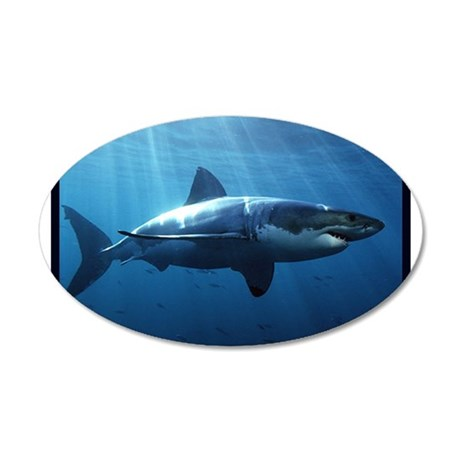 Great White Shark 20x12 Oval Wall Decal