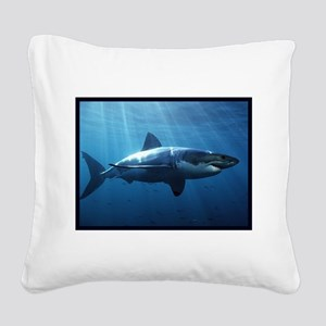Great White Shark Square Canvas Pillow