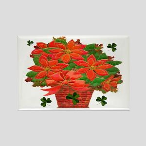 Poinsettia Shamrocks Basket Magnets (10 pack)