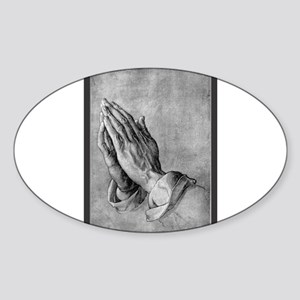 Praying Hands Sticker (Oval)