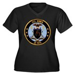 USS BOWEN Women's Plus Size V-Neck Dark T-Shirt