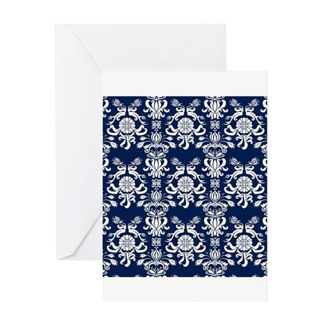 Navy Blue Damask Greeting Card