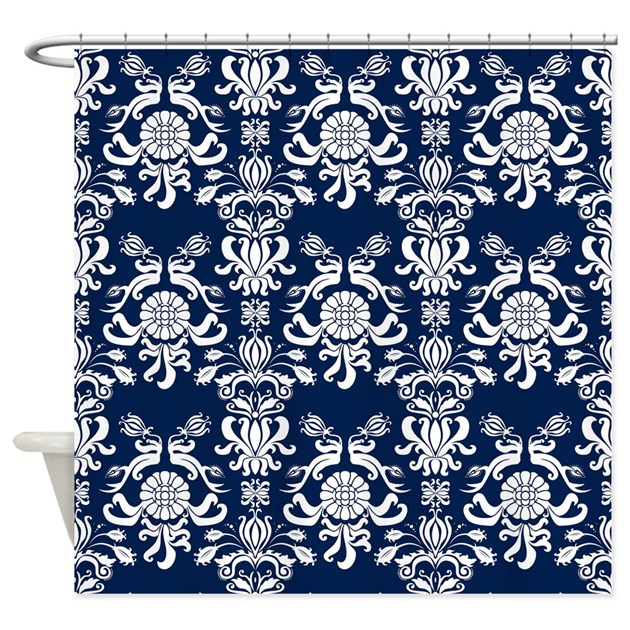 navy blue curtains navy blue damask shower curtain by printedlittletreasures 12427