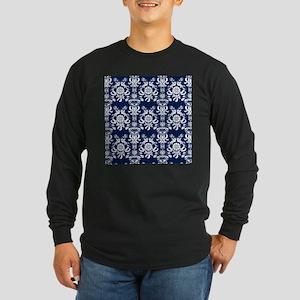 Navy Blue Damask Long Sleeve Dark T-Shirt