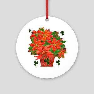 Christmas Poinsettia Basket Ornament (Round)