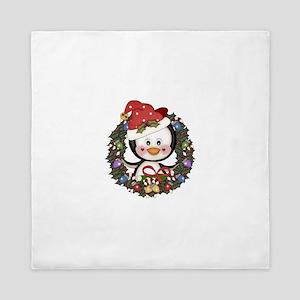 Christmas Penguin Holiday Wreath Queen Duvet