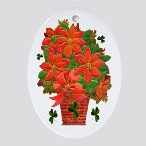 Poinsettia Basket Oval Ornament