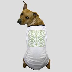 Pale Green Damask Dog T-Shirt
