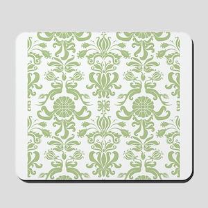 Pale Green Damask Mousepad