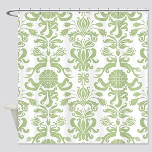 Pale Green Damask Shower Curtain