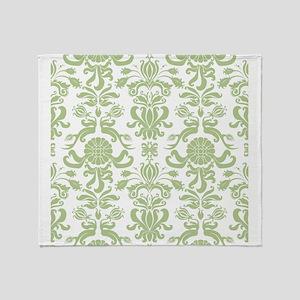 Pale Green Damask Throw Blanket