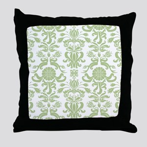 Pale Green Damask Throw Pillow