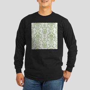 Pale Green Damask Long Sleeve Dark T-Shirt