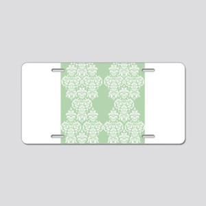 Light Green Damask Aluminum License Plate