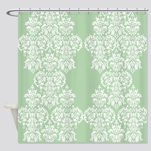 Light Green Damask Shower Curtain