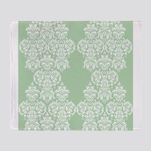 Light Green Damask Throw Blanket