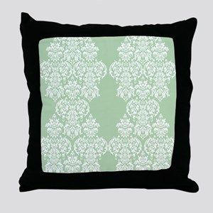 Light Green Damask Throw Pillow