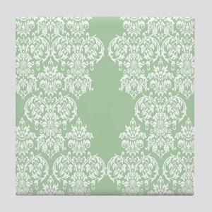 Light Green Damask Tile Coaster