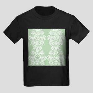 Light Green Damask Kids Dark T-Shirt