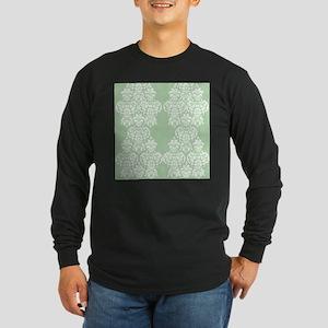 Light Green Damask Long Sleeve Dark T-Shirt