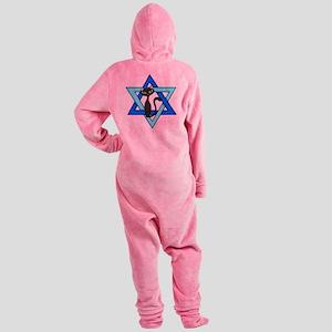 Jewish Cat Stars Footed Pajamas
