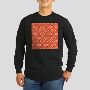 Orange Damask Long Sleeve Dark T-Shirt