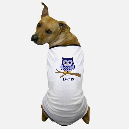 Custom name winter owl blue Dog T-Shirt