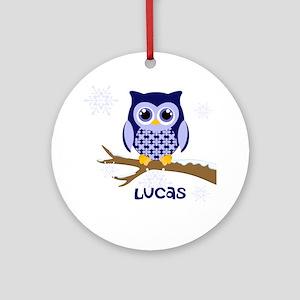 Custom name winter owl blue Ornament (Round)