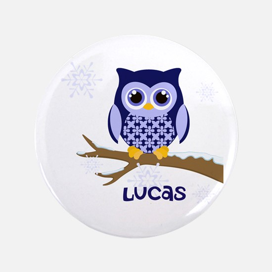 "Custom name winter owl blue 3.5"" Button"